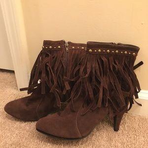 Forever 21 boho studded fringe high heel boots